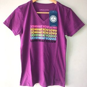 NWT Life is Good Purple 100% cotton T-shirt